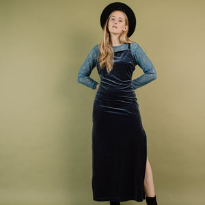 Vintage Buttery Soft Grey Velvet Maxi Dress / S