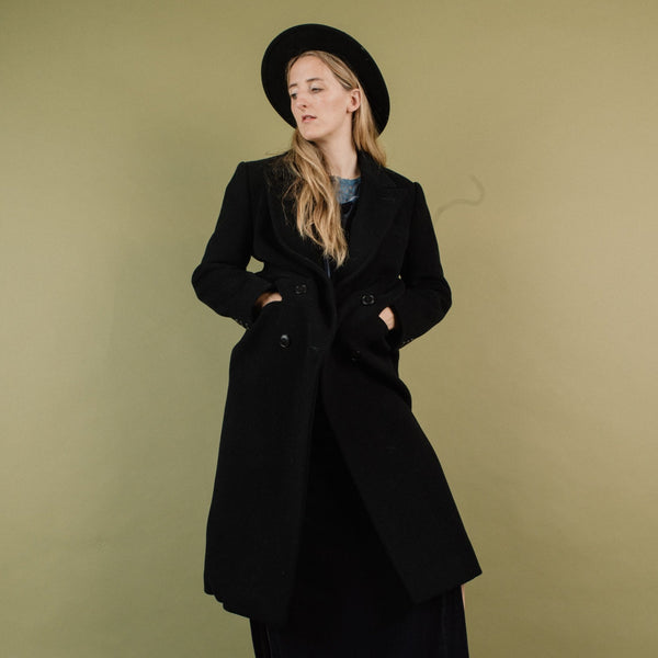 Vintage Black Wool Coat / S