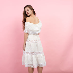 Vintage 70s White Boho Cotton Crochet Peasant Dress / S/M - Closed Caption