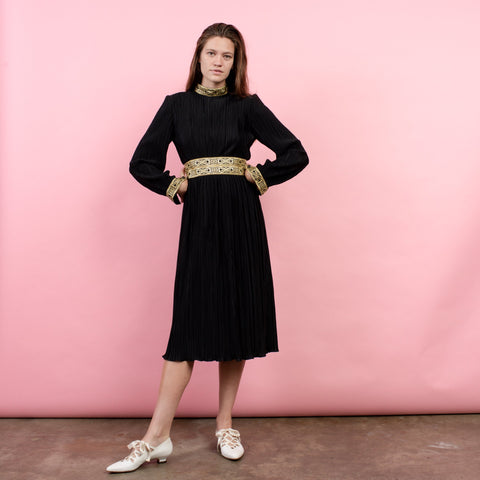 Vintage 70s Black Micro Pleat HAL FERMAN Dress / S
