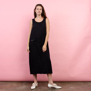 Vintage Oversized Charcoal Overall Maxi Dress / S/M - Closed Caption
