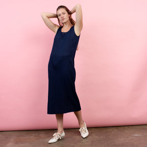 Vintage Navy Crinkle Maxi Dress / S