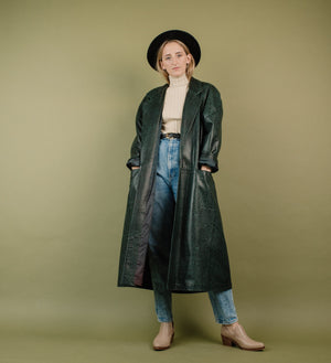 Vintage Oversized Black + Green Embossed Croc Leather Coat / S - Closed Caption