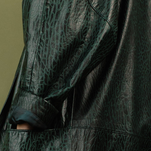 Vintage Oversized Black + Green Embossed Croc Leather Coat / S