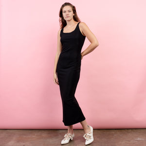 Vintage Black Slinky Tank Maxi Dress / S - Closed Caption
