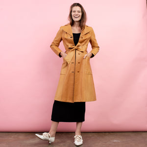 Vintage 70s Orange Leather Trench Coat  / S - Closed Caption