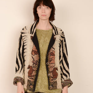 Vintage Animal Earth Tones Tapestry Jacket / S