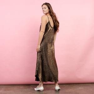 Vintage Oversized Gold + Black Abstract Slip Maxi Dress / S/M/L - Closed Caption