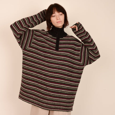 Vintage GAP Striped Chunky Knit Wool Sweater / S/M