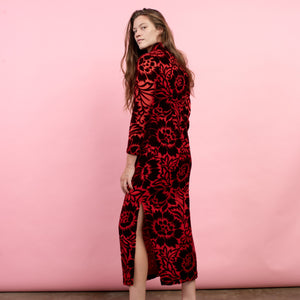 Vintage 60s Red Floral Flocked Velvet Maxi Dress / M - Closed Caption