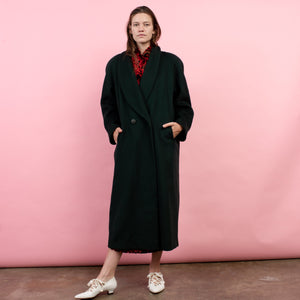 Vintage Oversized Hunter Green Wool Coat / S/M/L