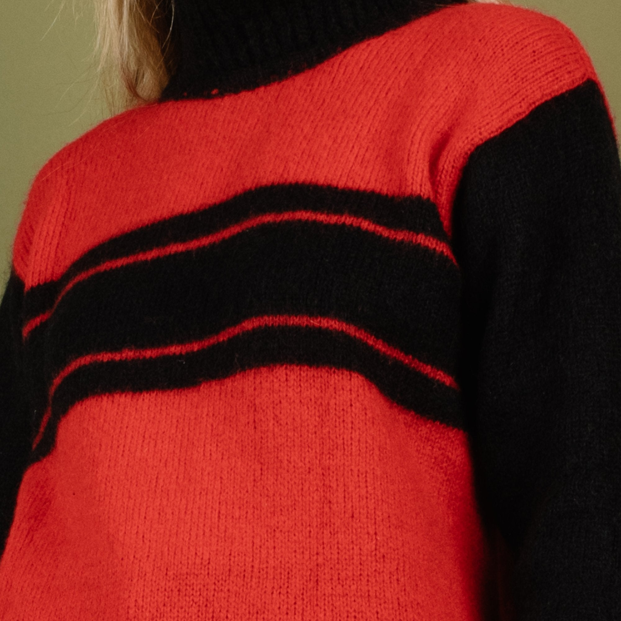 Vintage UNITED COLORS OF BENETTON Black + Red Striped Knit Sweater / S - Closed Caption