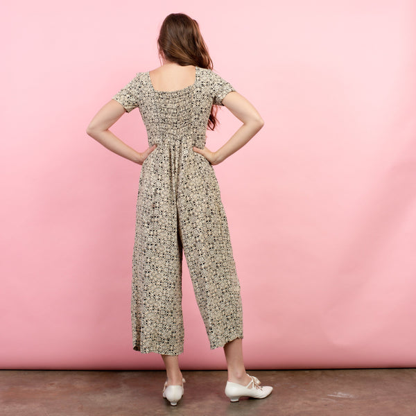 Vintage Beige + Black Abstract Floral Jumpsuit / S/M