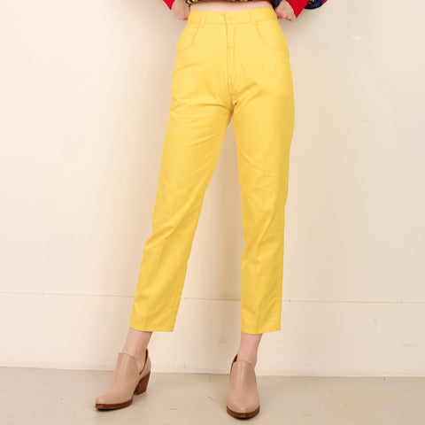 Vintage High Rise Canary Yellow Twill Pants / XS/S