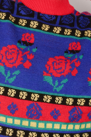 Vintage Oversized Rose Knit Sweater / S - Closed Caption