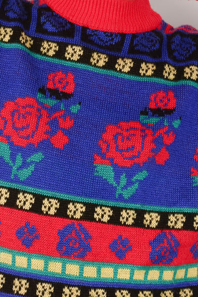 Vintage Oversized Rose Knit Sweater / S