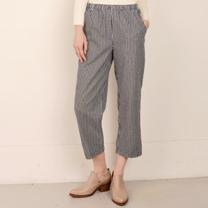 Vintage Blue + Creme Striped Cotton Twill Pants / S