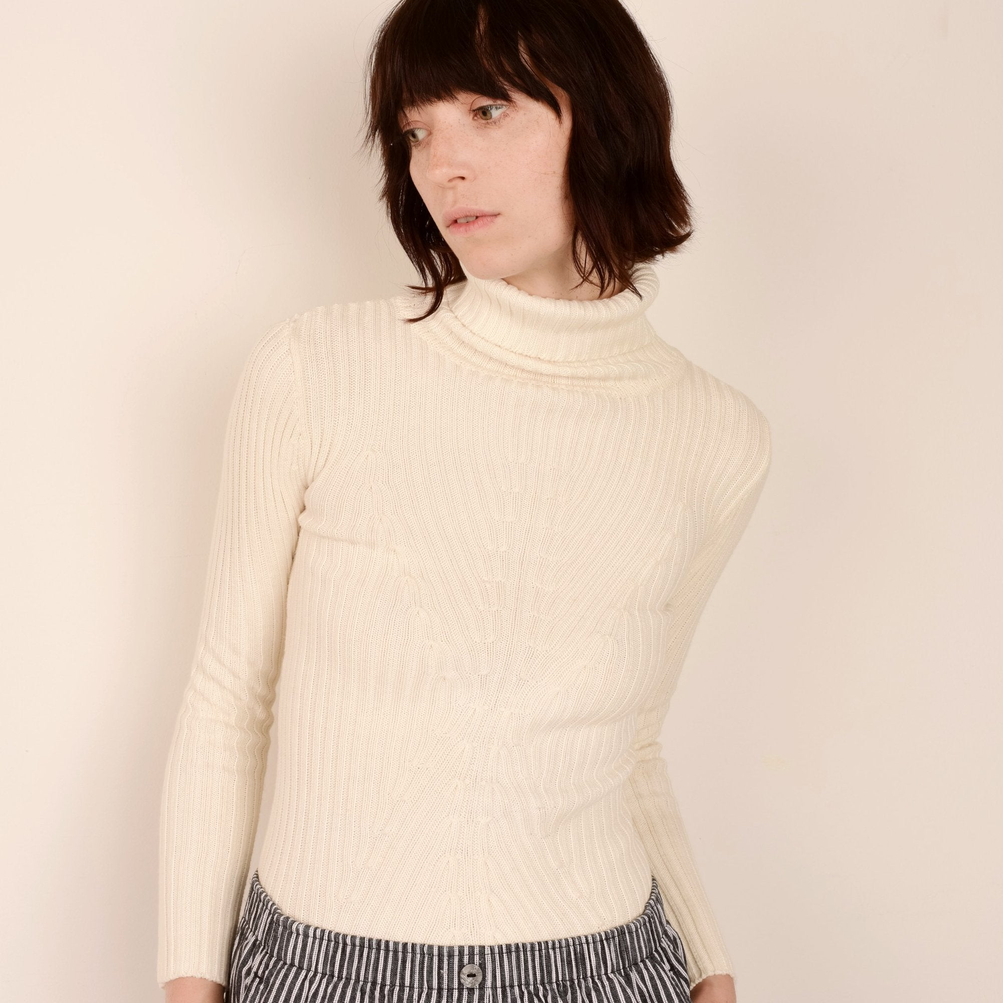 Vintage Creme Knit Turtleneck Top / XS