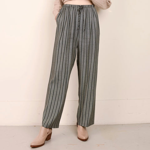 Vintage High Rise Black + Creme Striped Oversized Pants / S/M
