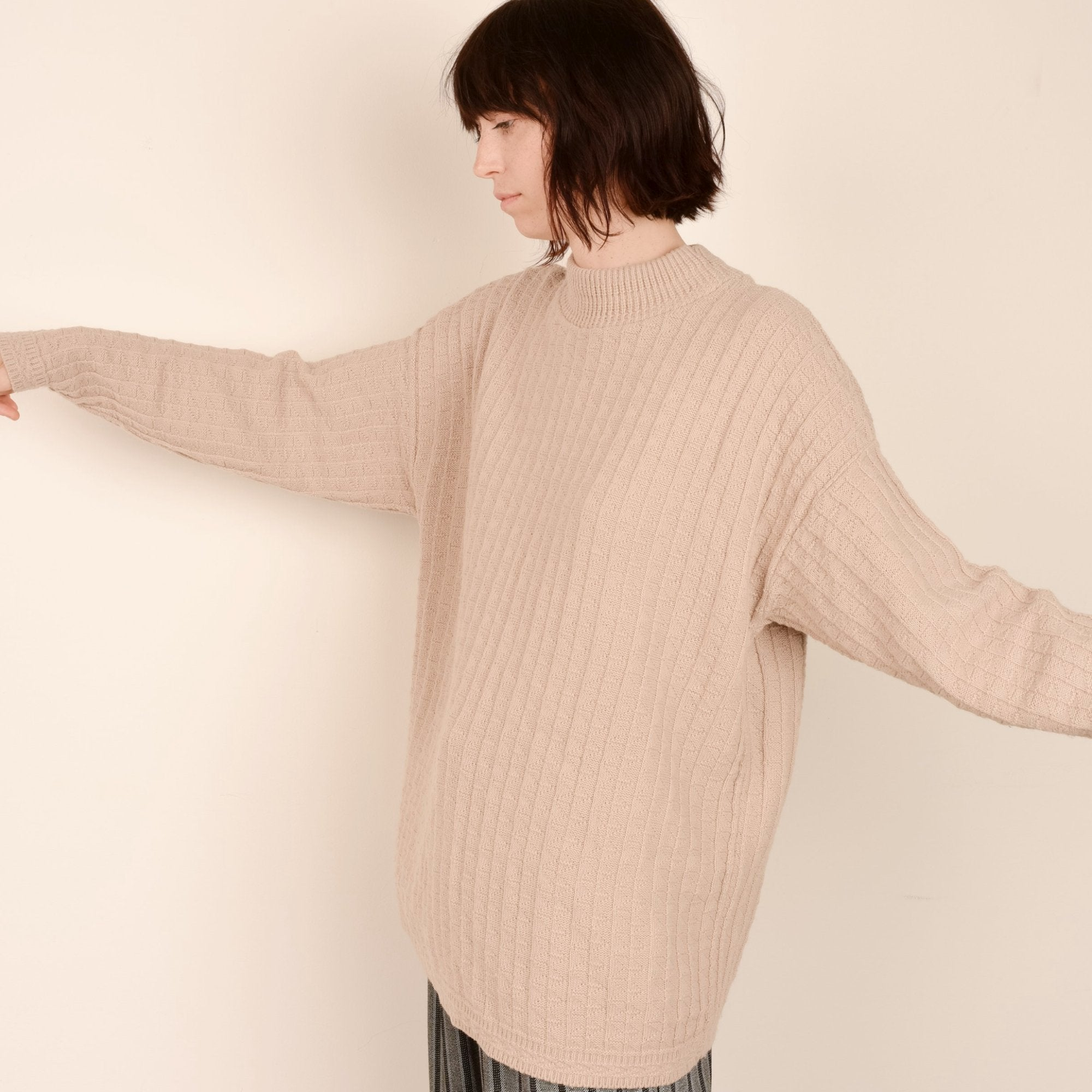 Vintage Beige Oversized Knit Sweater / S - Closed Caption