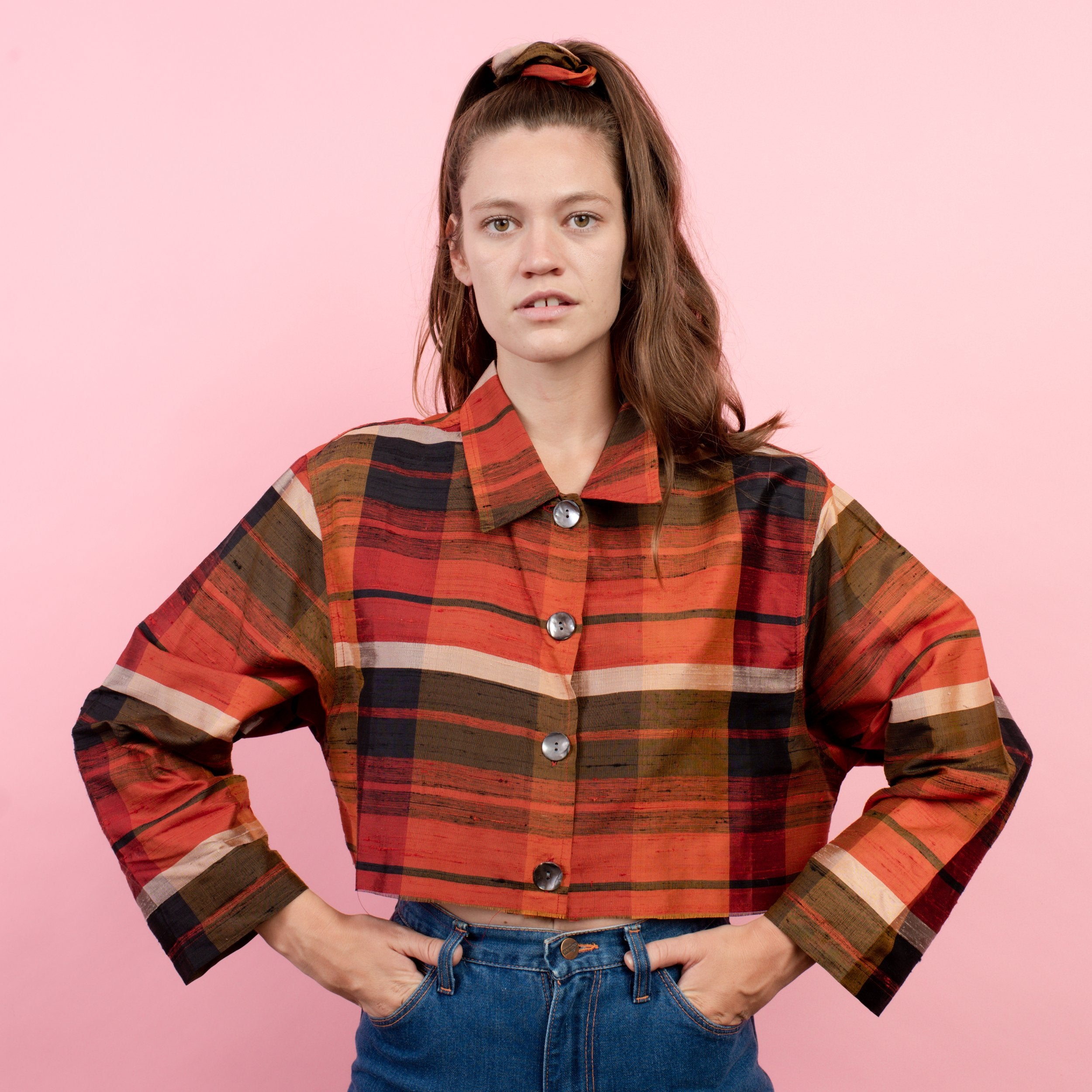 Vintage Plaid Raw Silk Earth Tone Cropped Blouse / S/M