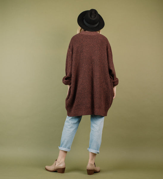 Vintage Oversized Heather Grey + Maroon Knit Sweater / S