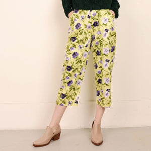 Vintage High Rise Lime + Violet Floral Cotton Pants / S