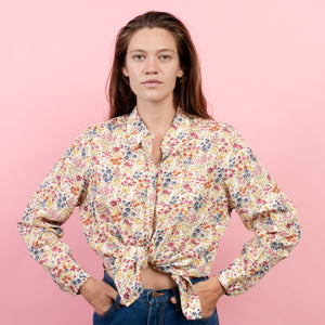 Vintage Floral Pastel Blouse / S/M - Closed Caption