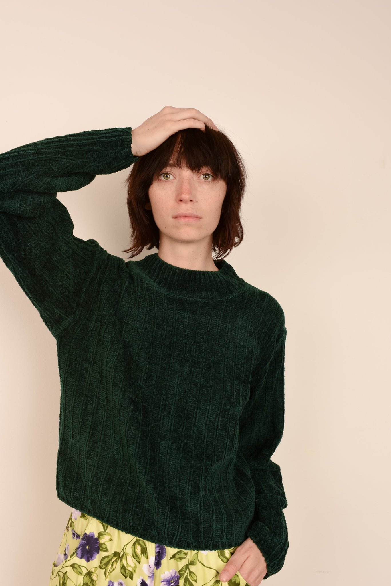Vintage Forest Green Chenille Knit Sweater / S - Closed Caption