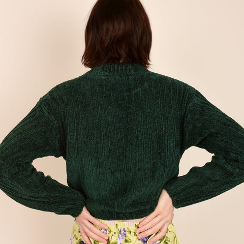 Vintage Forest Green Chenille Knit Sweater / S