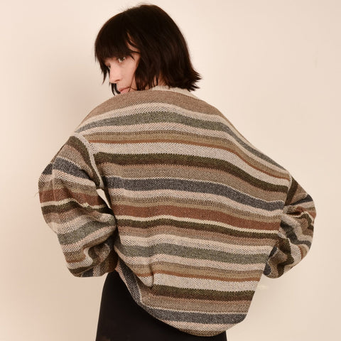 Vintage Earth Tone Striped Oversized Knit Sweater / S