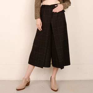 Vintage High Rise Black Plaid Faux Wrap Culottes / S