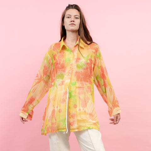 Vintage Oversized Sheer Tropicana Floral Blouse / S/M
