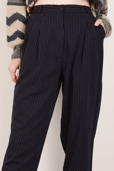 Vintage High Rise Navy Pinstripes Pants / S