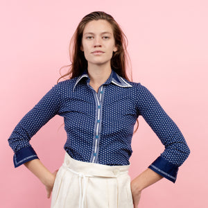 Vintage 70s Blue + White Floral Blouse / S - Closed Caption