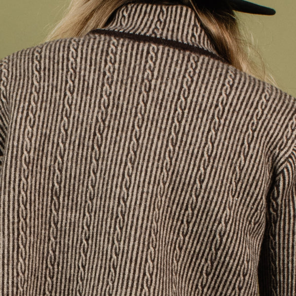 Vintage Chocolate Striped Cropped Knit Turtleneck Sweater / S