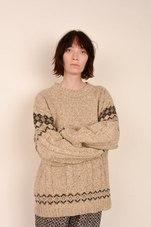Vintage Oatmeal Oversized Nordic Sweater / S - Closed Caption
