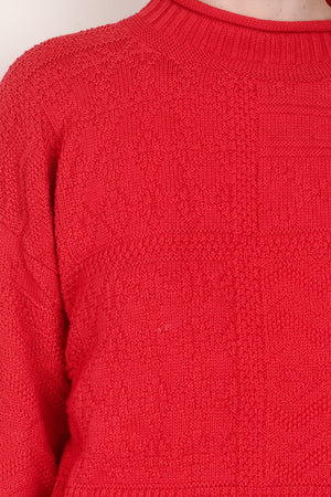 Vintage Cherry Red Knit Sweater / S - Closed Caption