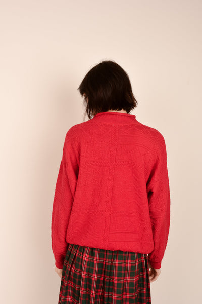 Vintage Cherry Red Knit Sweater / S