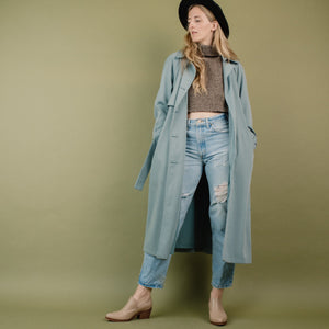 Vintage Powder Blue Trench Coat / S/M