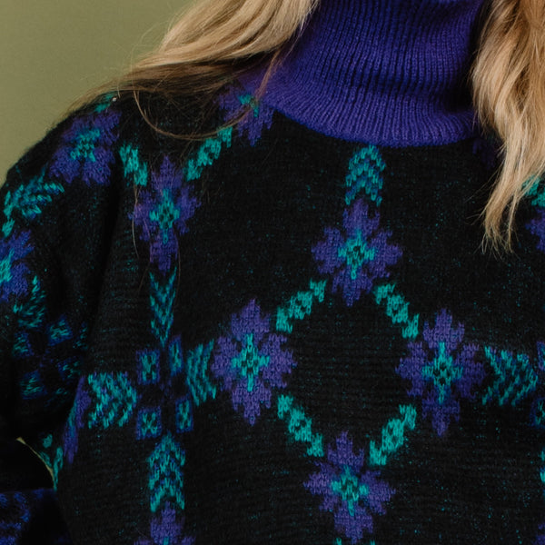 Vintage UNITED COLORS OF BENETTON Black, Green + Purple Knit Sweater / S