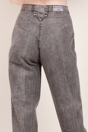 Vintage High Rise Grey Striped Twill Pants / S - Closed Caption