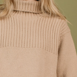 Vintage GAP Chunky Knit Toffee Oversized Turtleneck Wool Sweater / S - Closed Caption