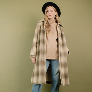 Vintage Oat Latte Plaid Wool Coat / S/M