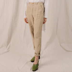 Vintage Oatmeal High Rise Linen Trousers / S