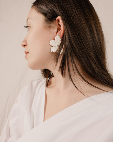 White Enamel Oversized Floral Earrings