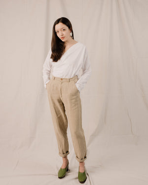 Vintage Oatmeal High Rise Linen Trousers / S - Closed Caption