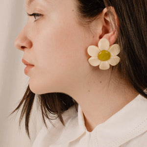 Creme + Lime Resin Daisy Statement Earrings