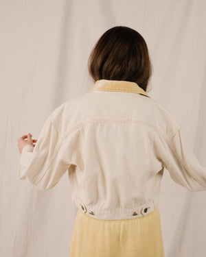 Vintage Creme + Lemon Cropped Denim Jacket / S - Closed Caption