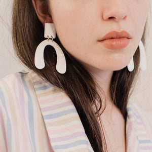 White Geometric Resin Statement Earrings
